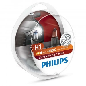 Комплект галогеновых ламп Philips H1 X-tremeVision G-force (+130%) - 12258XVGS2 (пласт. бокс)