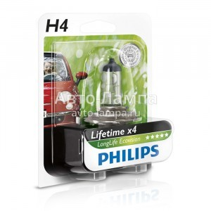 Philips H4 LongLife EcoVision - 12342LLECOB1 (блистер)