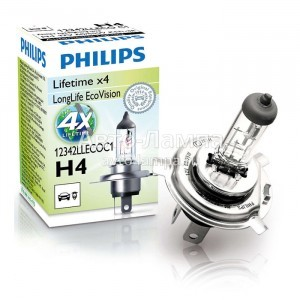 Philips H4 LongLife EcoVision - 12342LLECOC1 (карт. короб.)