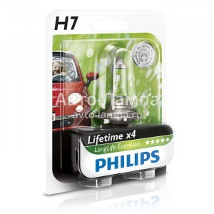Philips H7 LongLife EcoVision - 12972LLECOB1 (блистер)