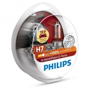 Галогеновые лампы Philips H7 X-tremeVision G-force (+130%) - 12972XVGS2 (пласт. бокс)