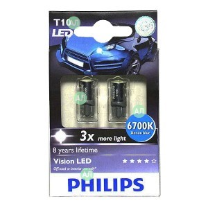 Philips W5W Vision LED - 129356700KX2 (бело-голубой)