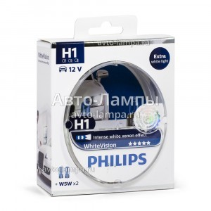 Комплект галогеновых ламп Philips H1 WhiteVision - 12258WHVSM (пласт. бокс)