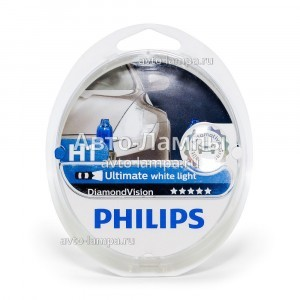 Комплект галогеновых ламп Philips H1 DiamondVision - 12258DVS2 (пласт. бокс)