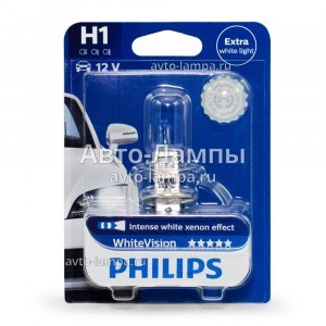 Галогеновая лампа Philips H1 WhiteVision - 12258WHVB1 (блистер)