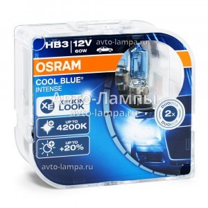 Комплект галогеновых ламп Osram HB3 Cool Blue Intense (+20%) - 9005CBI-HCB