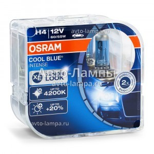 Комплект галогеновых ламп Osram H4 Cool Blue Intense (+20%) - 64193CBI-HCB (пласт. бокс)
