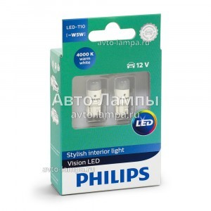 Philips W5W Vision LED - 127914000KX2 (тепл. белый)