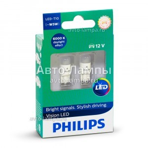 Philips W5W Vision LED - 127916000KX2 (хол. белый)