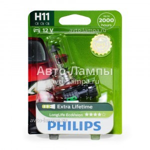 Philips H11 LongLife EcoVision - 12362LLECOB1 (блистер)