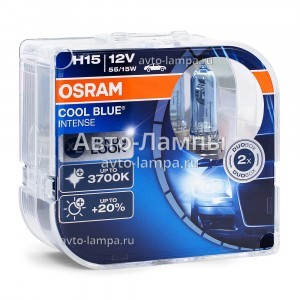 Комплект галогеновых ламп Osram H15 Cool Blue Intense (+20%) - 64176CBI-HCB (пласт. бокс)