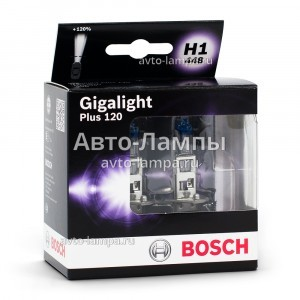 Комплект галогеновых ламп Bosch H1 Gigalight Plus 120 - 1 987 301 105 (диз. упак. x2)
