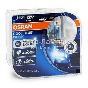 Комплект галогеновых ламп Osram H7 Cool Blue Intense (+20%) - 64210CBI-HCB (пласт. бокс)