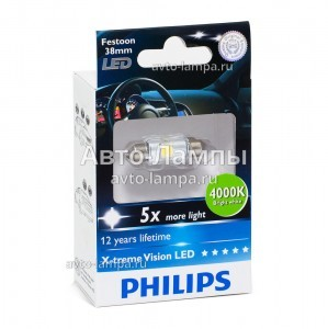 Светодиоды Philips Festoon X-treme Ultinon LED 38 мм