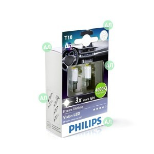 Philips W5W Vision LED - 129334000KX2 (тепл. белый)